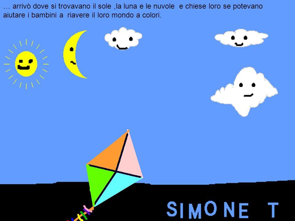 … arrivò dove si trovavano il sole ,la luna e le nuvole e chiese loro se potevano aiutare i bambini a riavere il loro mondo a colori.