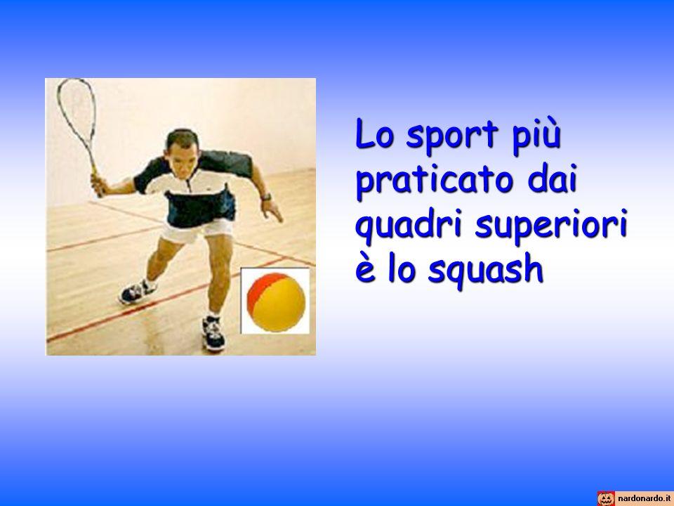 Lo sport più praticato dai quadri superiori è lo squash