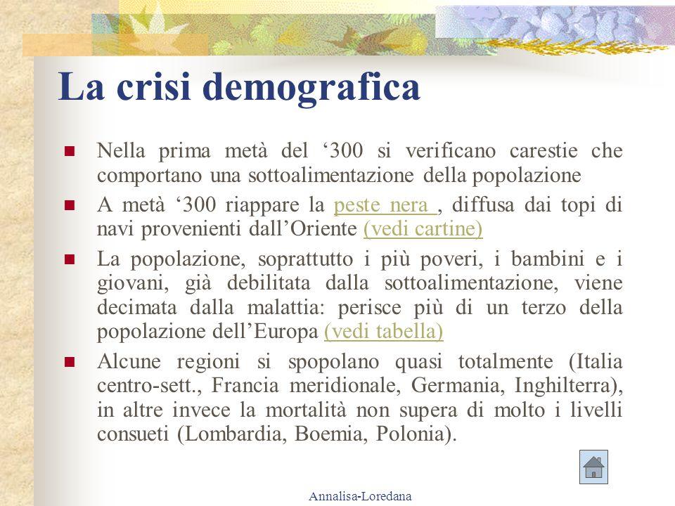 La crisi demografica Nella prima metà del '300 si verificano carestie che comportano una sottoalimentazione della popolazione.