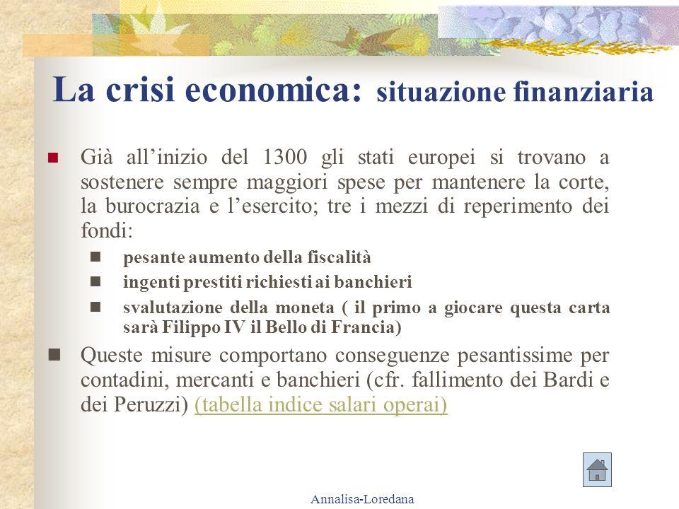 La crisi economica: situazione finanziaria