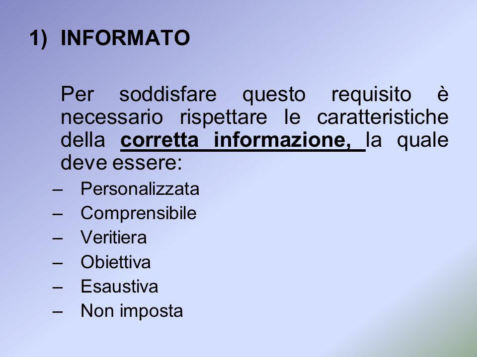 INFORMATO Per soddisfare questo requisito è necessario rispettare le caratteristiche della corretta informazione, la quale deve essere:
