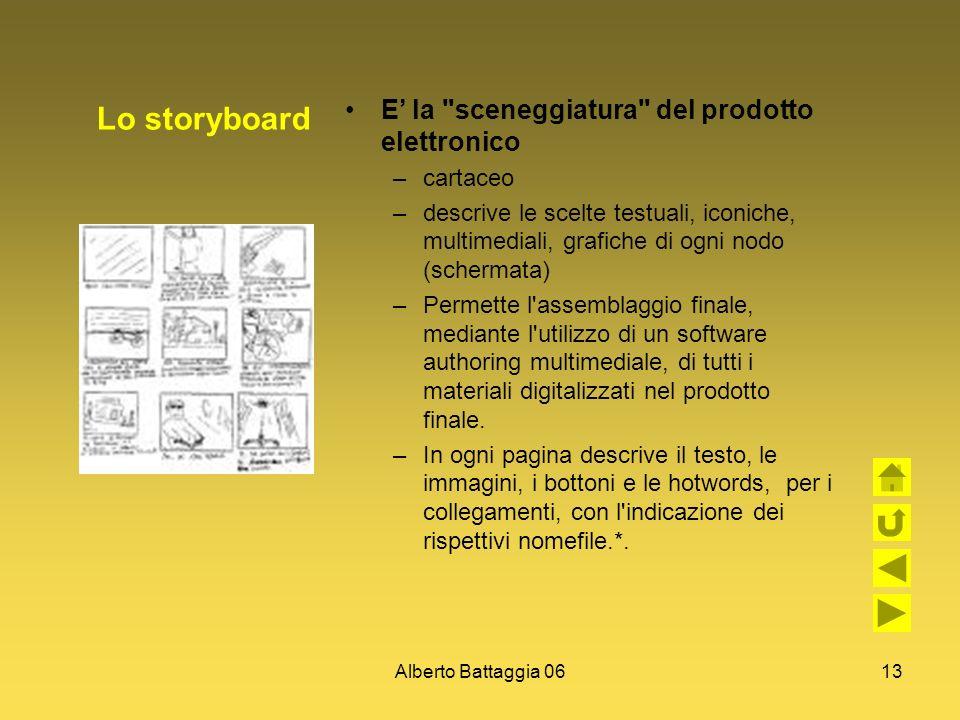 Lo storyboard E' la sceneggiatura del prodotto elettronico cartaceo