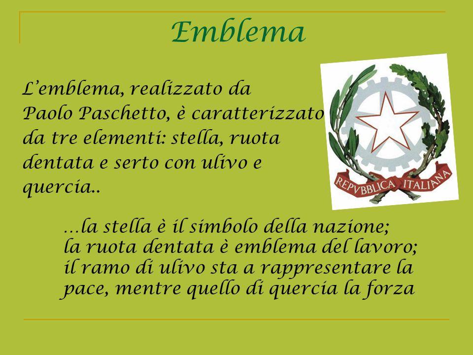 Emblema L'emblema, realizzato da Paolo Paschetto, è caratterizzato