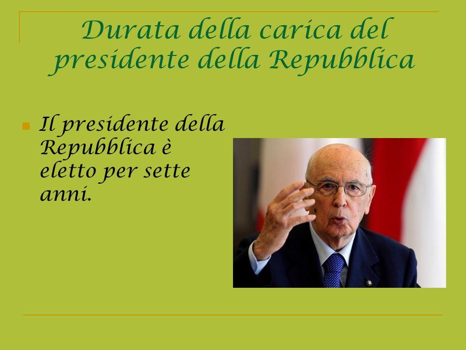 Durata della carica del presidente della Repubblica