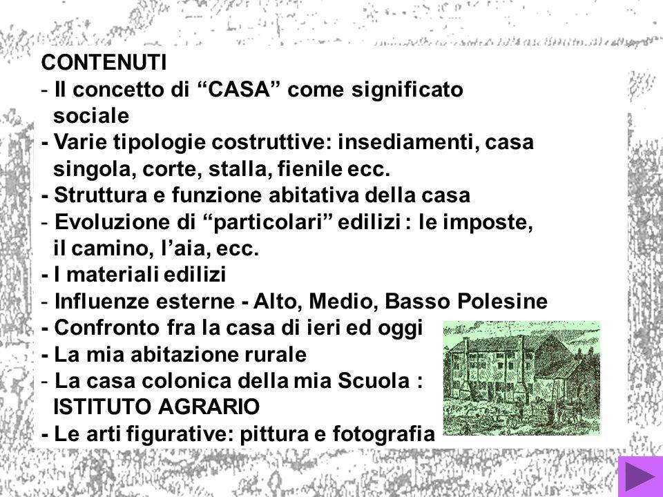 CONTENUTI Il concetto di CASA come significato. sociale. - Varie tipologie costruttive: insediamenti, casa.