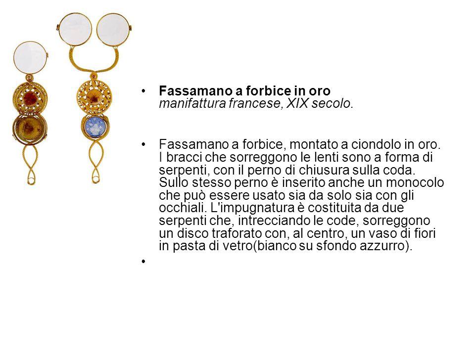 Fassamano a forbice in oro manifattura francese, XIX secolo.