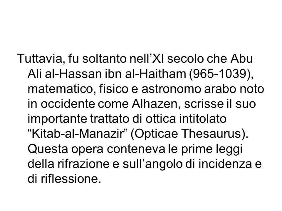 Tuttavia, fu soltanto nell'XI secolo che Abu Ali al-Hassan ibn al-Haitham (965-1039), matematico, fisico e astronomo arabo noto in occidente come Alhazen, scrisse il suo importante trattato di ottica intitolato Kitab-al-Manazir (Opticae Thesaurus).