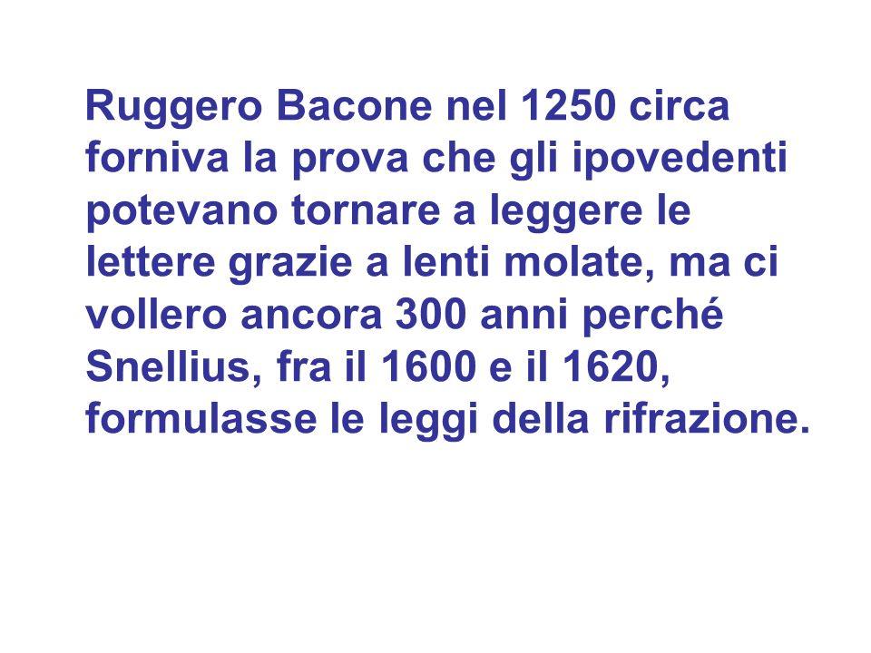 Ruggero Bacone nel 1250 circa forniva la prova che gli ipovedenti potevano tornare a leggere le lettere grazie a lenti molate, ma ci vollero ancora 300 anni perché Snellius, fra il 1600 e il 1620, formulasse le leggi della rifrazione.