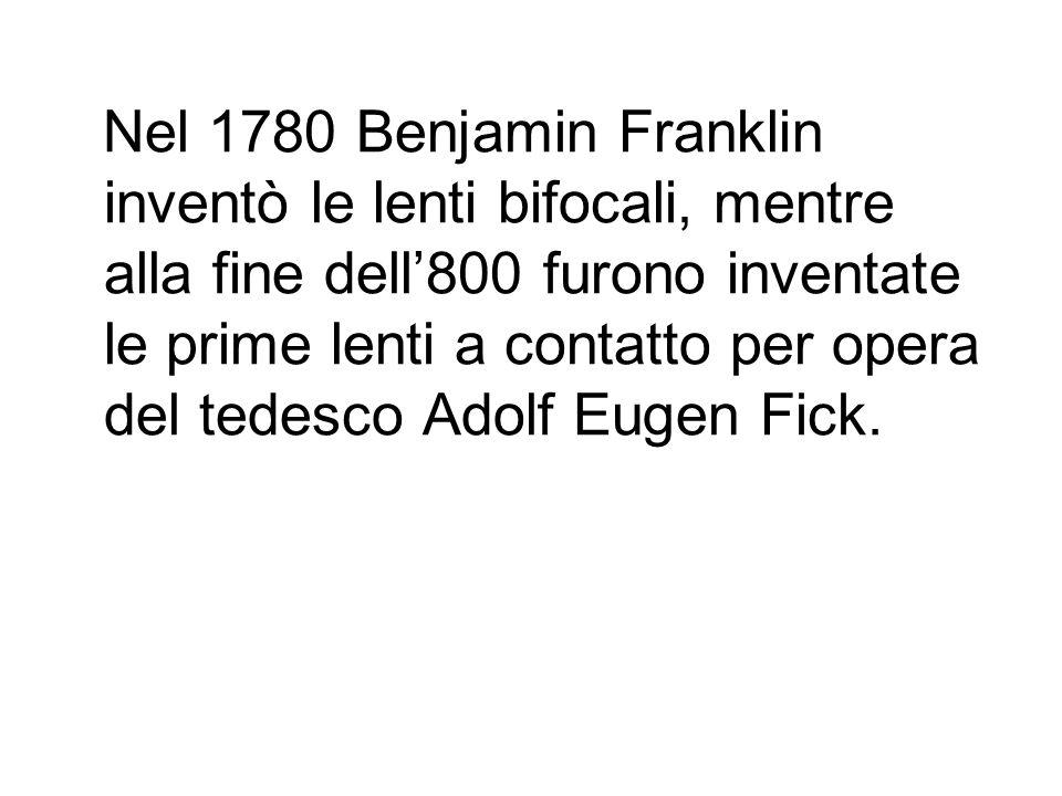 Nel 1780 Benjamin Franklin inventò le lenti bifocali, mentre alla fine dell'800 furono inventate le prime lenti a contatto per opera del tedesco Adolf Eugen Fick.