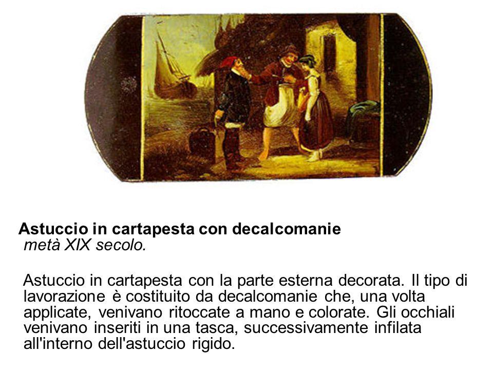 Astuccio in cartapesta con decalcomanie metà XIX secolo.