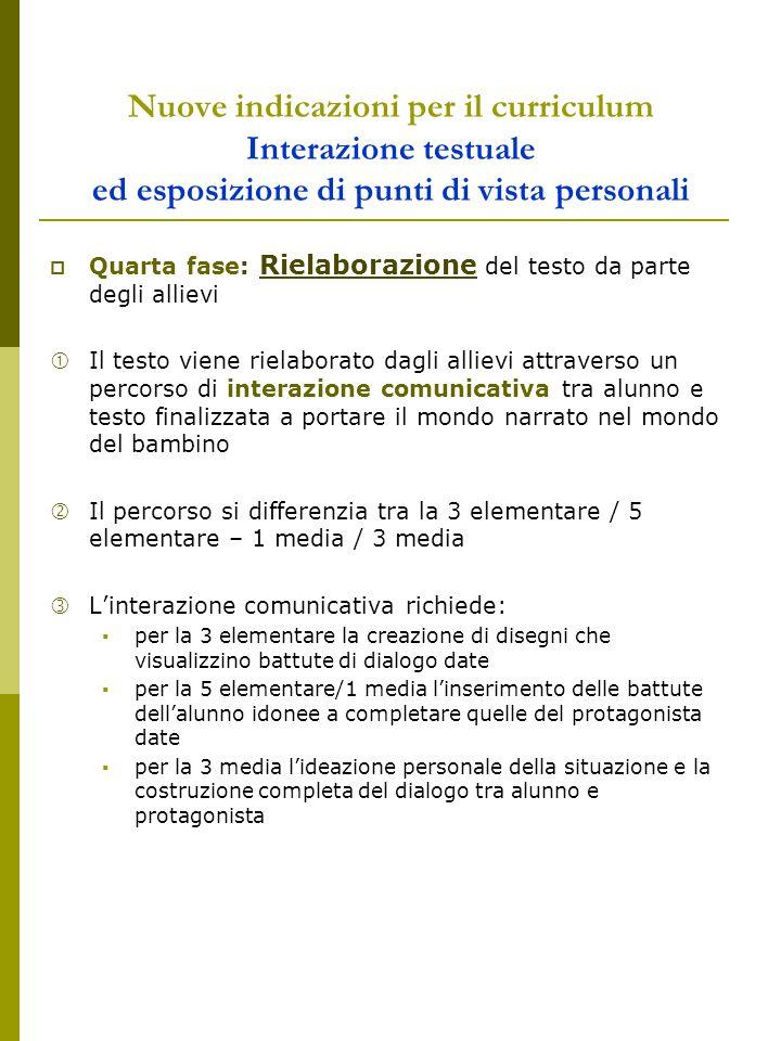 Nuove indicazioni per il curriculum Interazione testuale ed esposizione di punti di vista personali