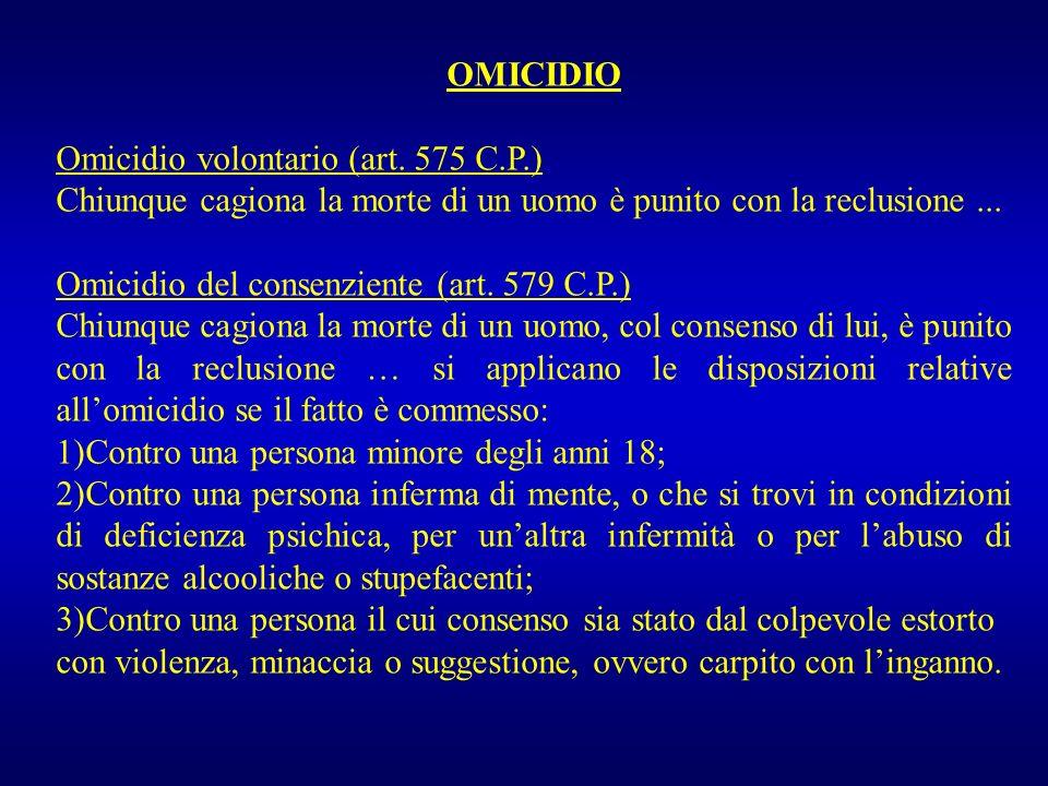 OMICIDIO Omicidio volontario (art. 575 C.P.) Chiunque cagiona la morte di un uomo è punito con la reclusione ...