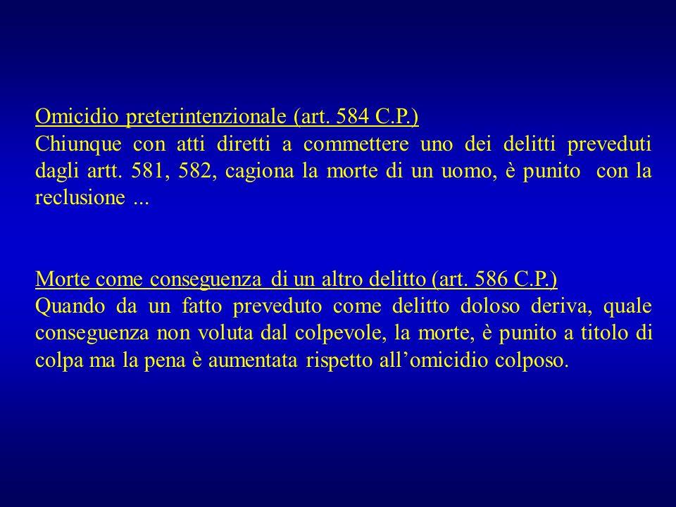 Omicidio preterintenzionale (art. 584 C.P.)