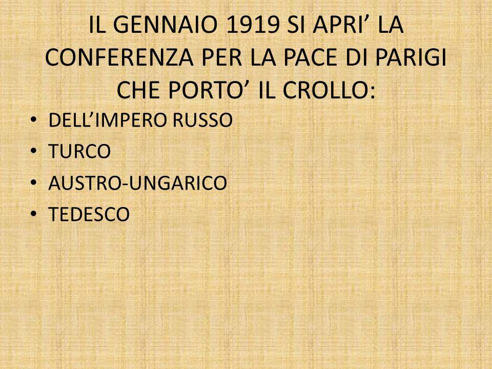 IL GENNAIO 1919 SI APRI' LA CONFERENZA PER LA PACE DI PARIGI CHE PORTO' IL CROLLO: