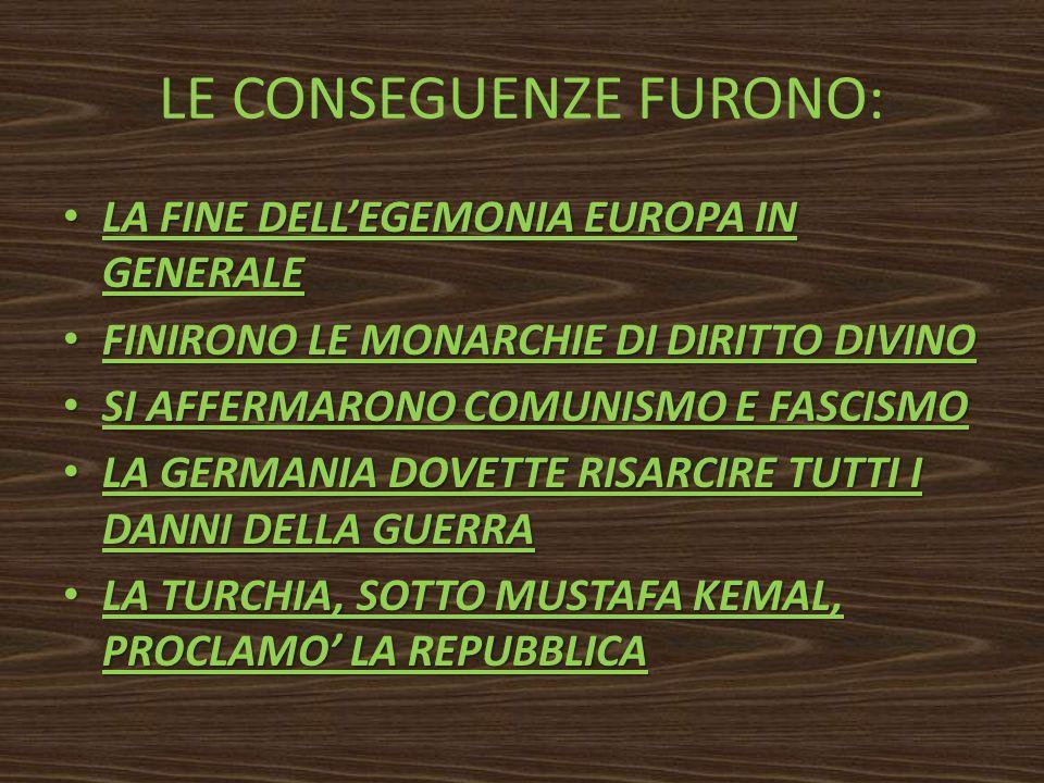 LE CONSEGUENZE FURONO: