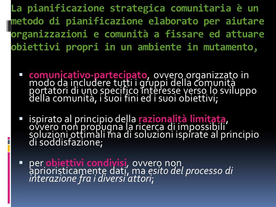 La pianificazione strategica comunitaria è un metodo di pianificazione elaborato per aiutare organizzazioni e comunità a fissare ed attuare obiettivi propri in un ambiente in mutamento,