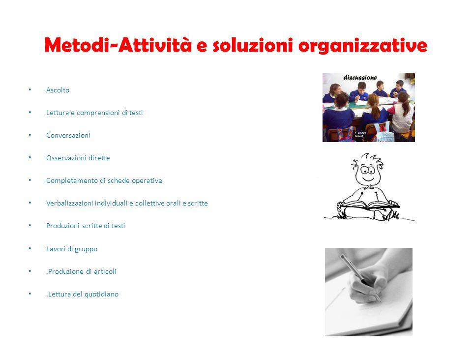 Metodi-Attività e soluzioni organizzative