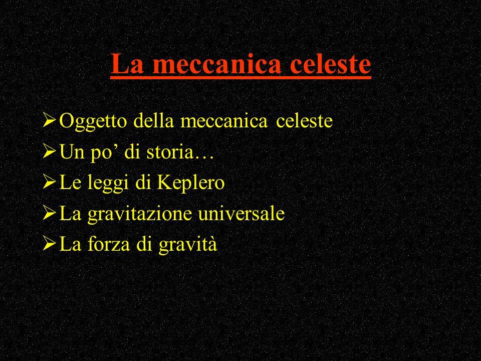 La meccanica celeste Oggetto della meccanica celeste Un po' di storia…