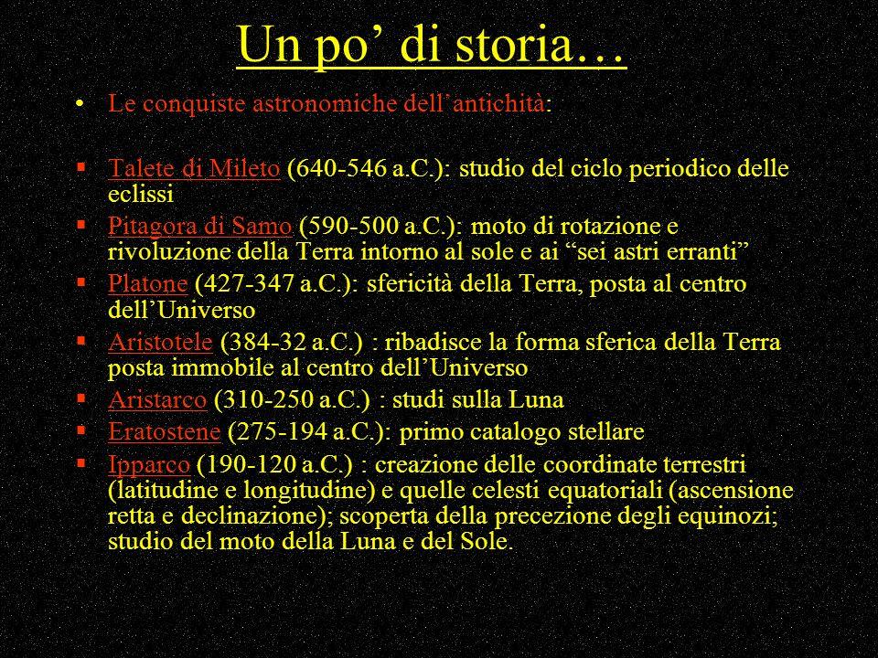 Un po' di storia… Le conquiste astronomiche dell'antichità: