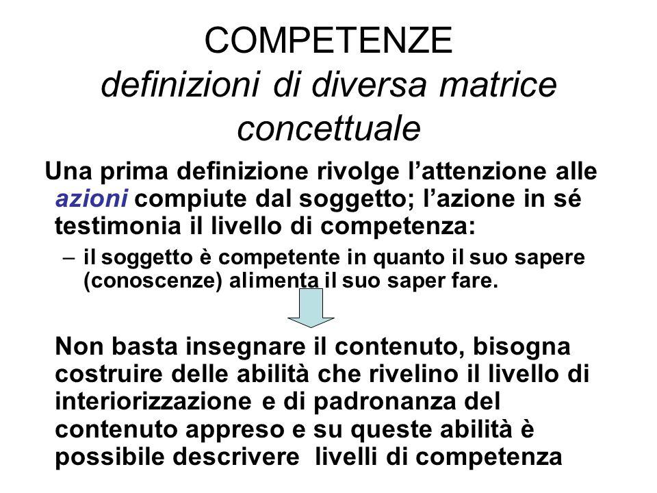 COMPETENZE definizioni di diversa matrice concettuale