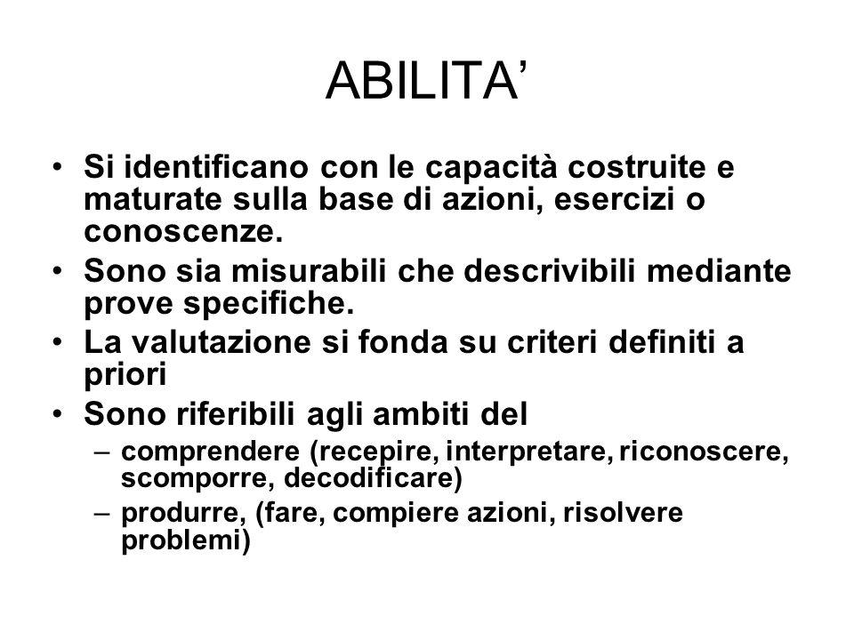 ABILITA' Si identificano con le capacità costruite e maturate sulla base di azioni, esercizi o conoscenze.