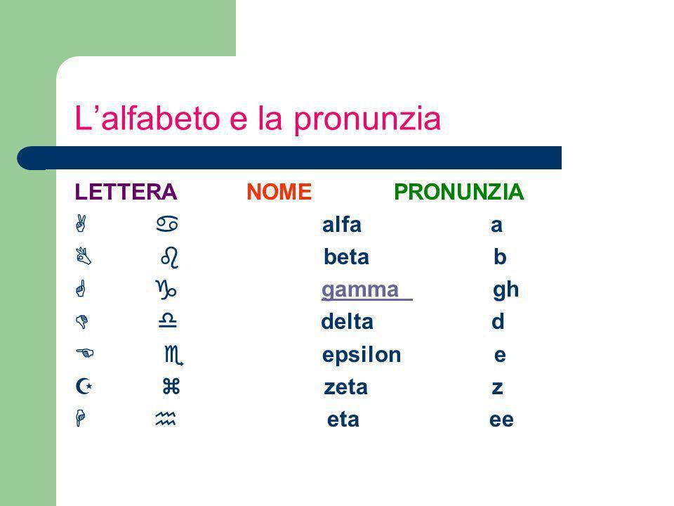 L'alfabeto e la pronunzia