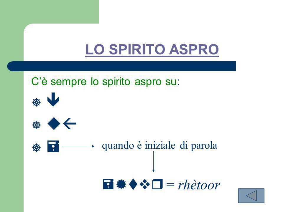    LO SPIRITO ASPRO  = rhètoor