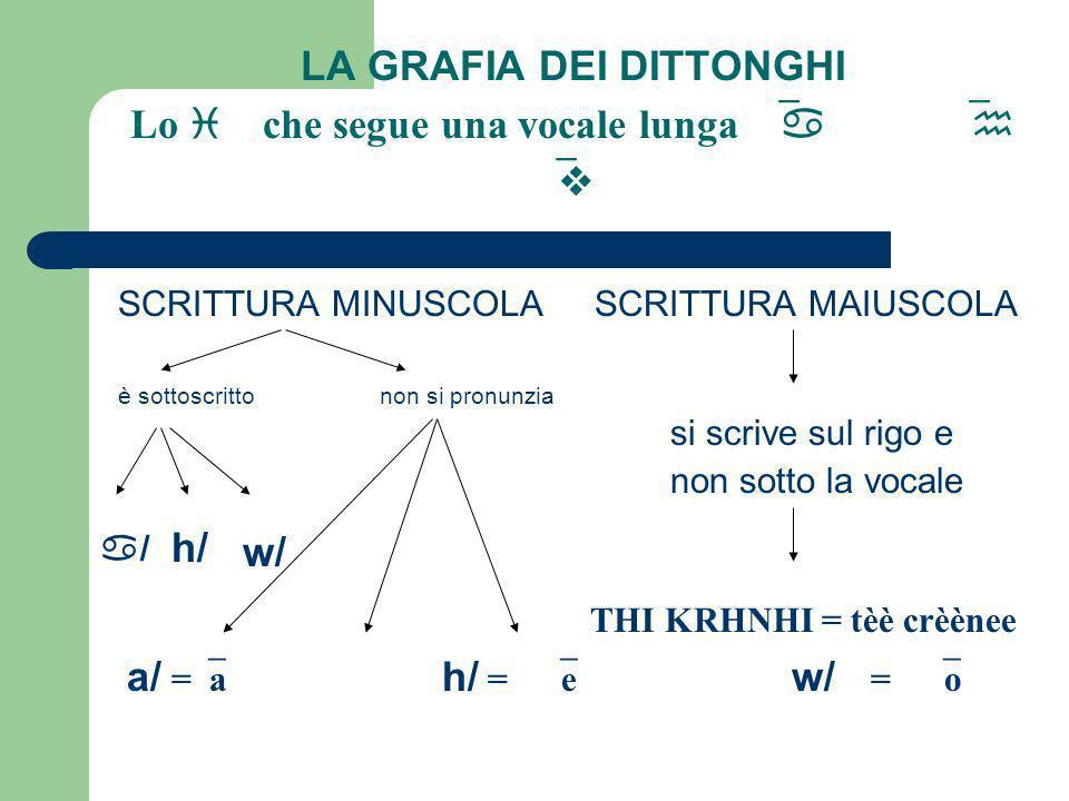 LA GRAFIA DEI DITTONGHI Lo i che segue una vocale lunga a h v