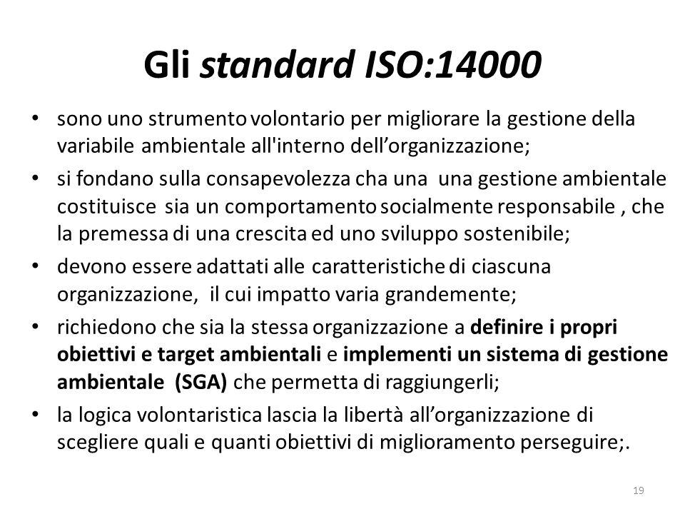 Gli standard ISO:14000 sono uno strumento volontario per migliorare la gestione della variabile ambientale all interno dell'organizzazione;