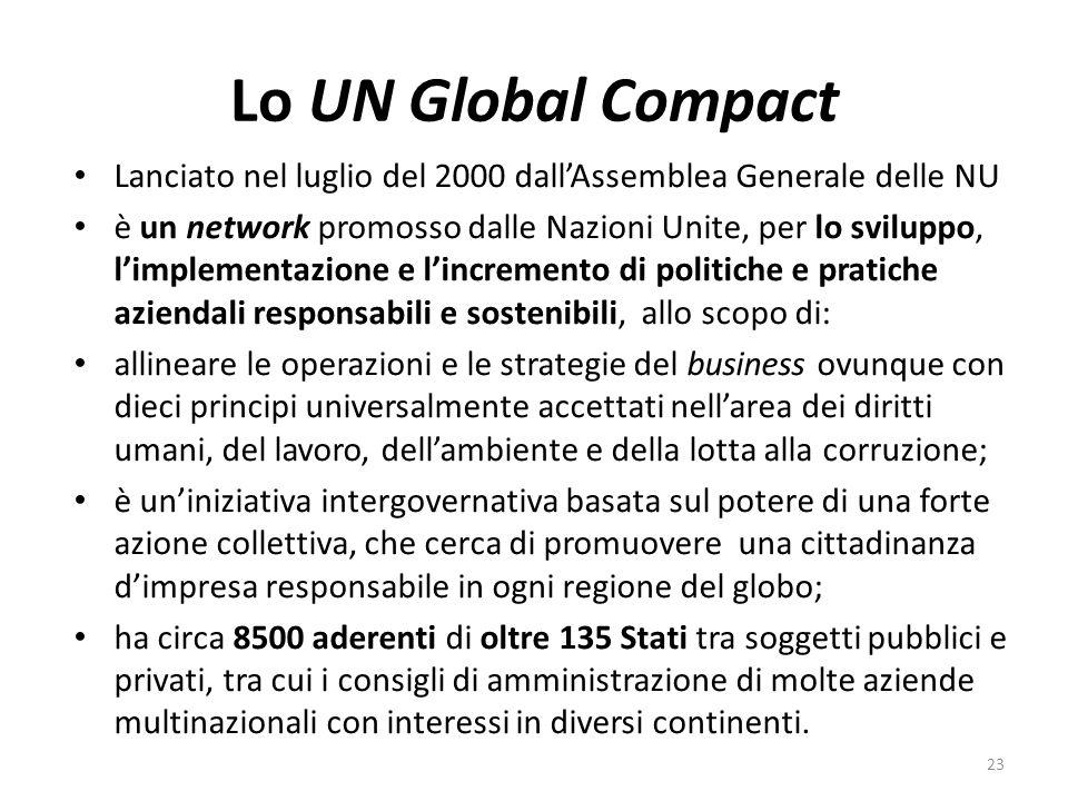 Lo UN Global Compact Lanciato nel luglio del 2000 dall'Assemblea Generale delle NU.