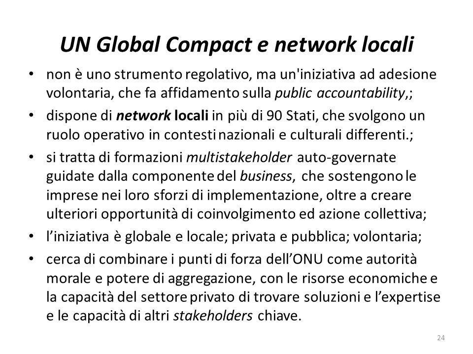 UN Global Compact e network locali