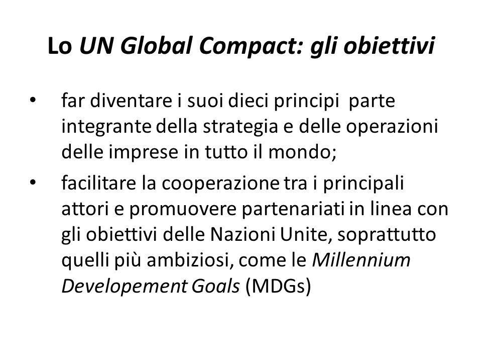 Lo UN Global Compact: gli obiettivi