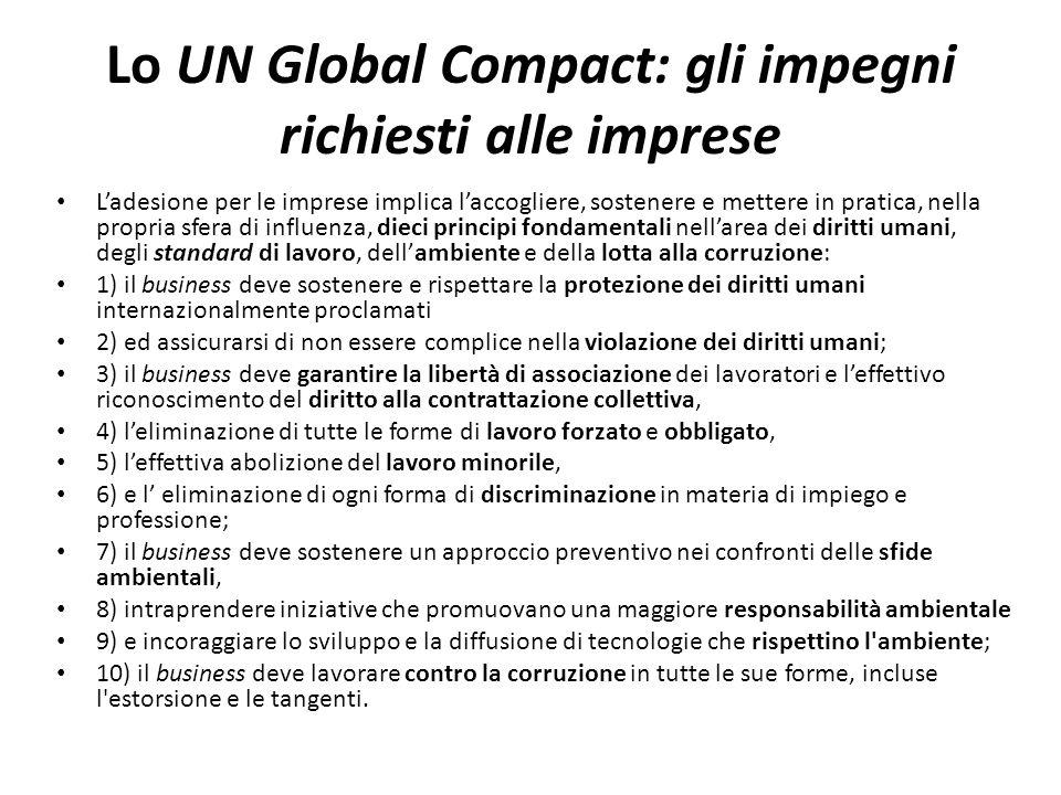 Lo UN Global Compact: gli impegni richiesti alle imprese