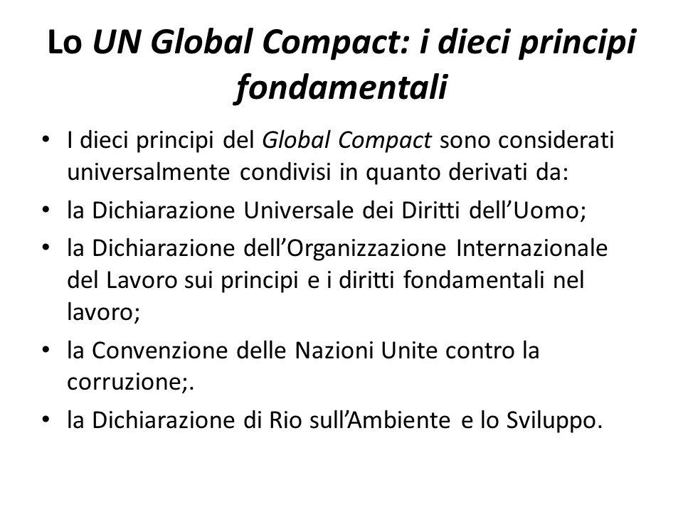 Lo UN Global Compact: i dieci principi fondamentali