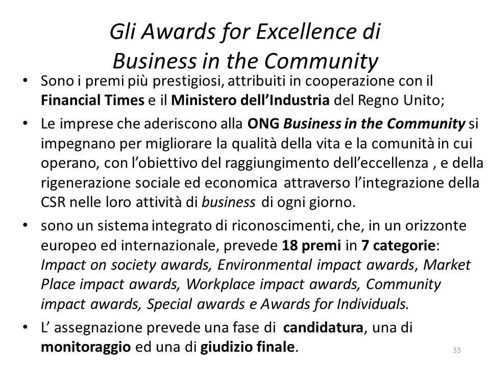 Gli Awards for Excellence di Business in the Community