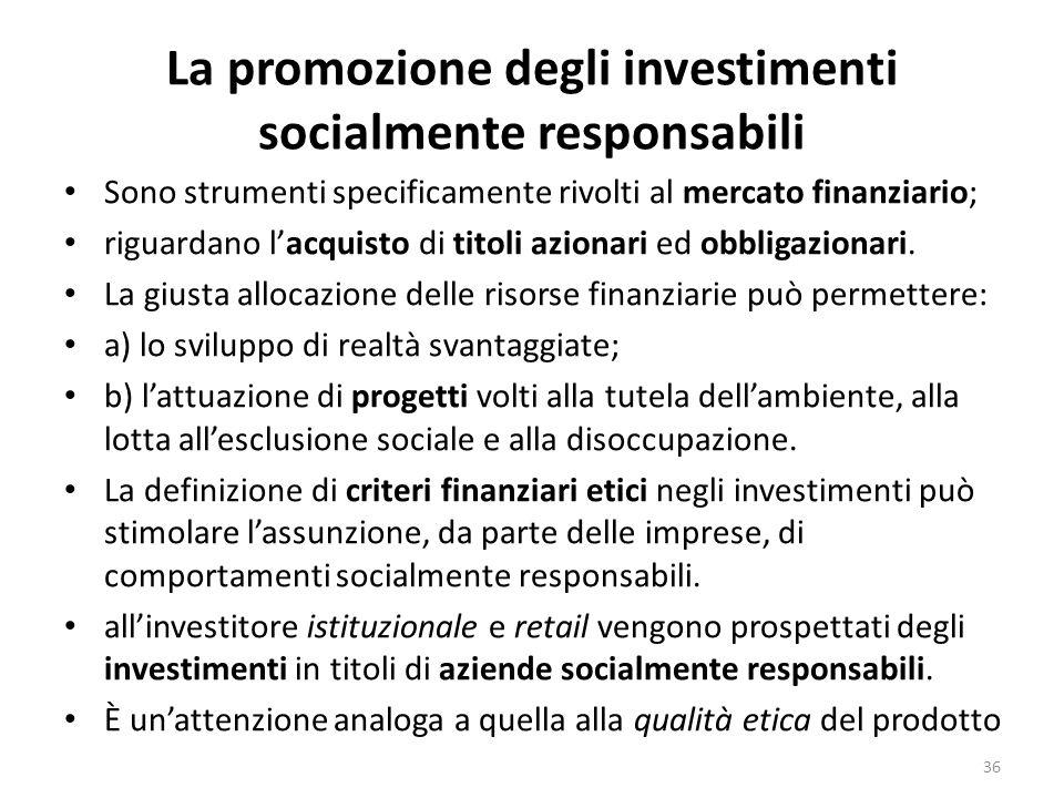 La promozione degli investimenti socialmente responsabili