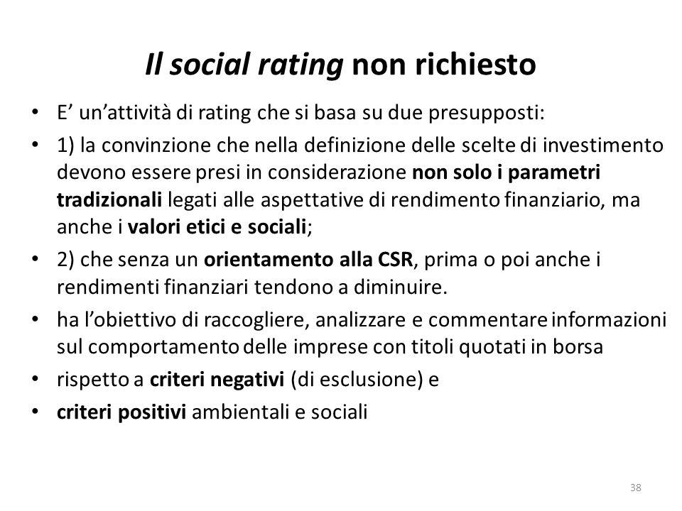 Il social rating non richiesto