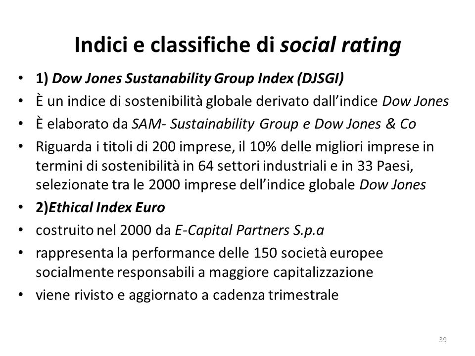 Indici e classifiche di social rating