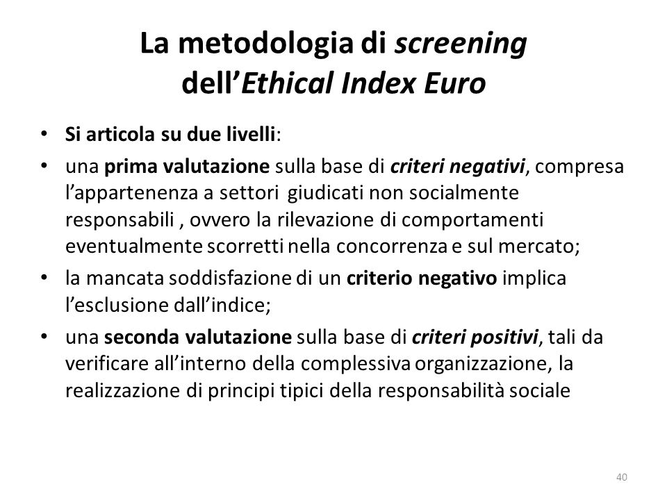 La metodologia di screening dell'Ethical Index Euro