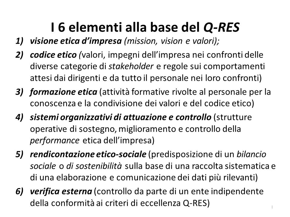 I 6 elementi alla base del Q-RES