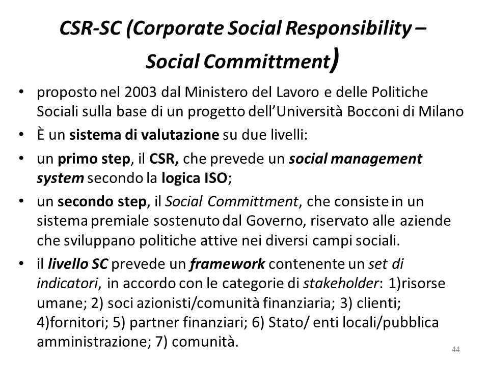 CSR-SC (Corporate Social Responsibility – Social Committment)