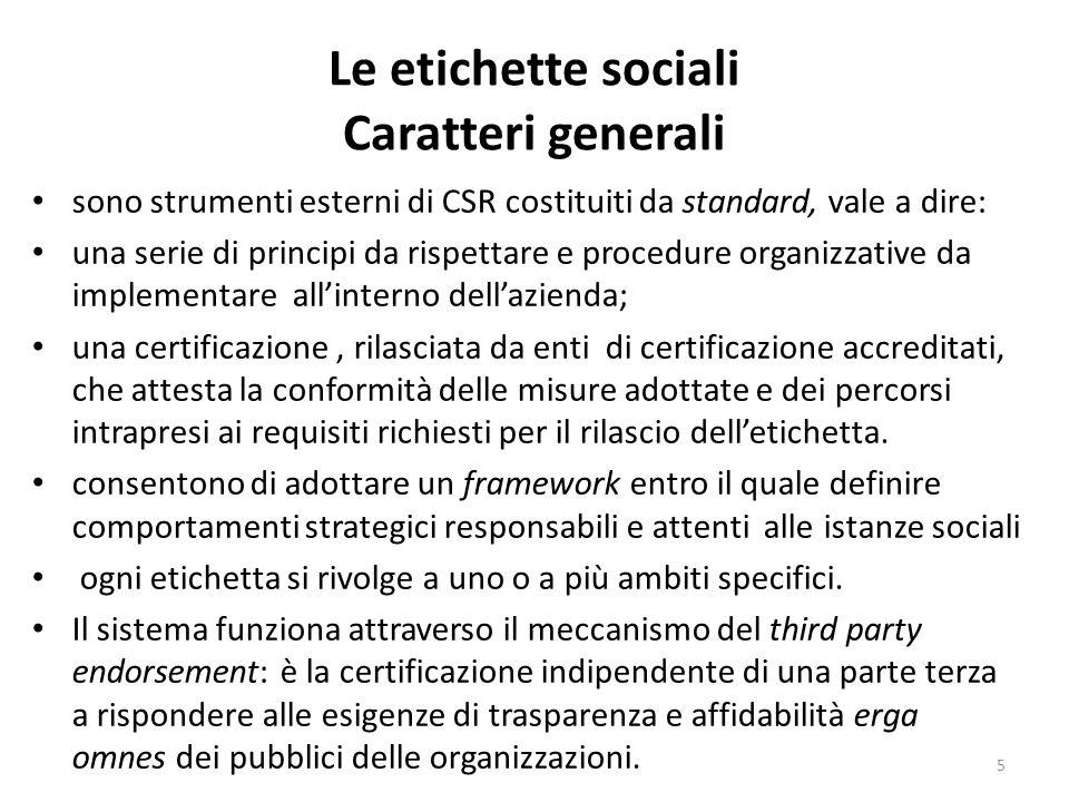 Le etichette sociali Caratteri generali