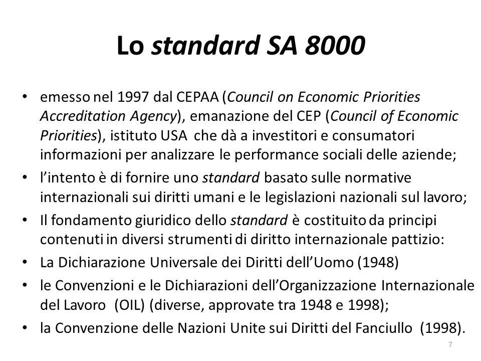 Lo standard SA 8000