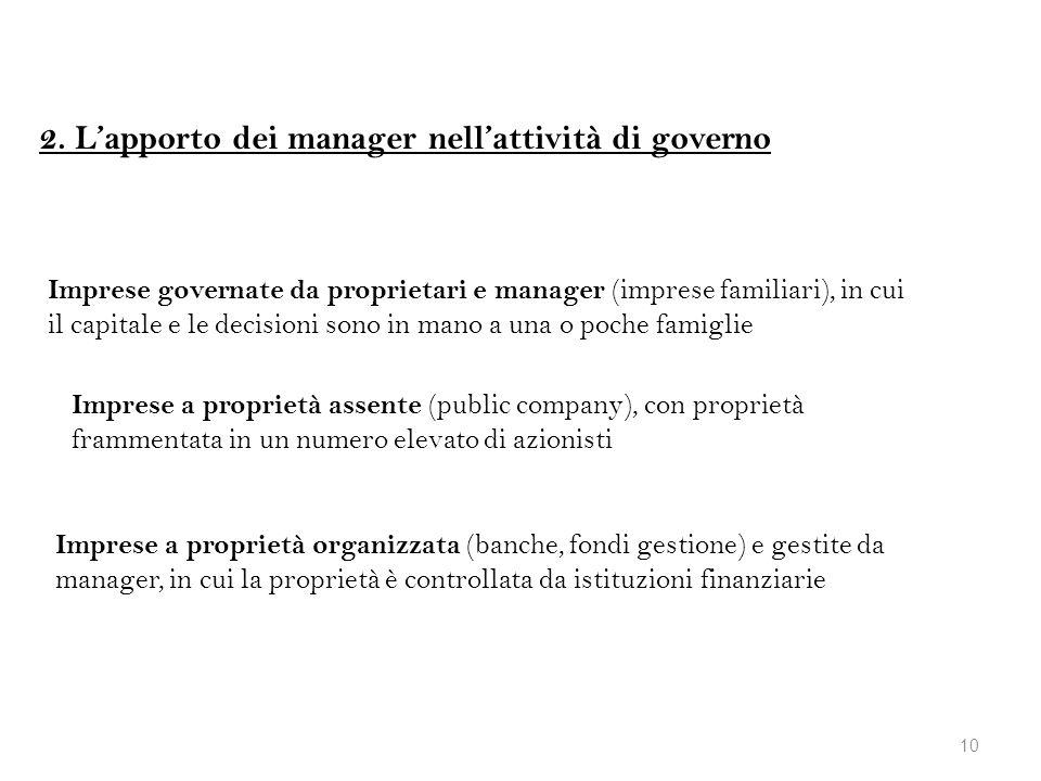 2. L'apporto dei manager nell'attività di governo