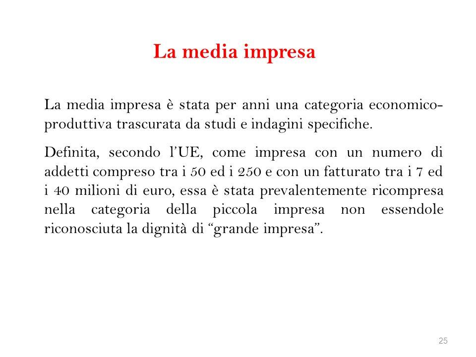 La media impresa La media impresa è stata per anni una categoria economico-produttiva trascurata da studi e indagini specifiche.