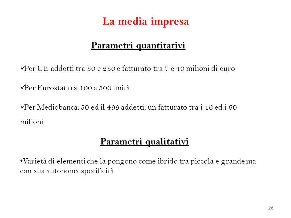 La media impresa Parametri quantitativi Parametri qualitativi