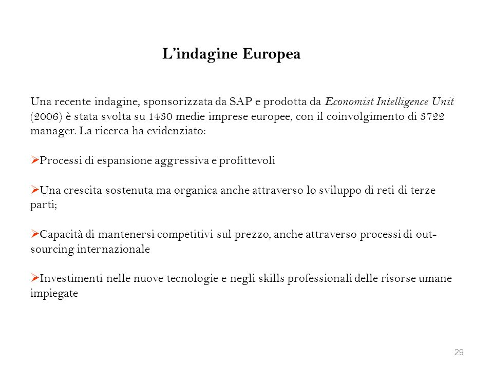 L'indagine Europea