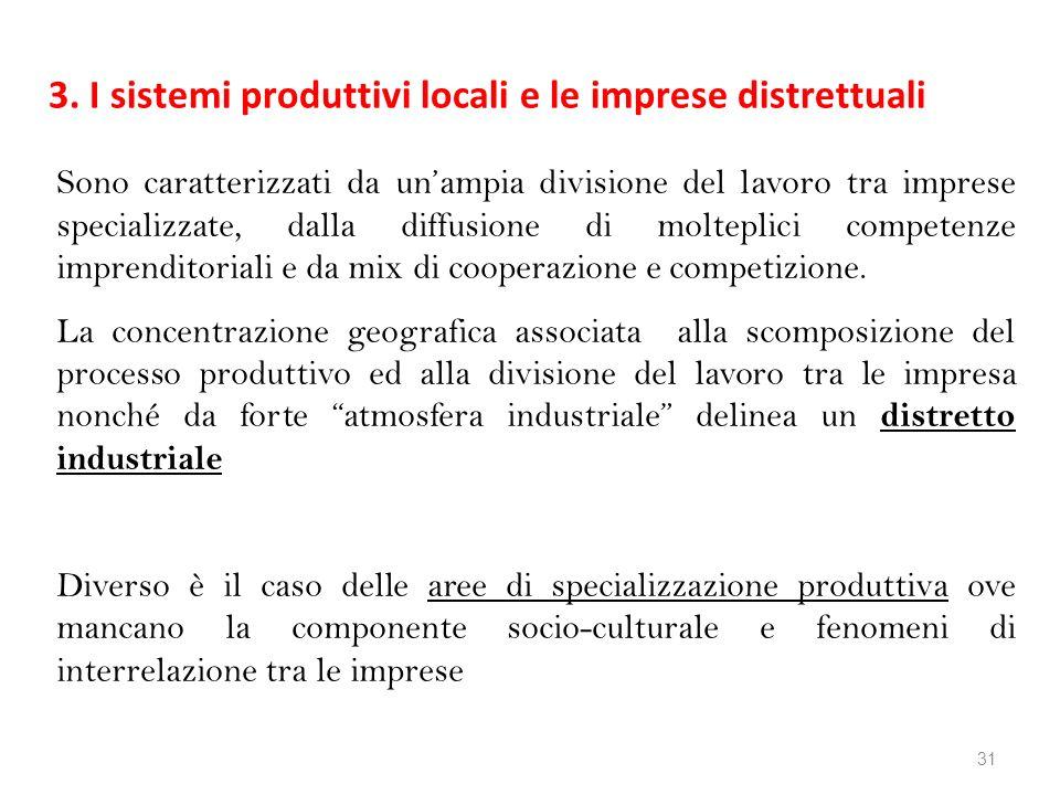 3. I sistemi produttivi locali e le imprese distrettuali