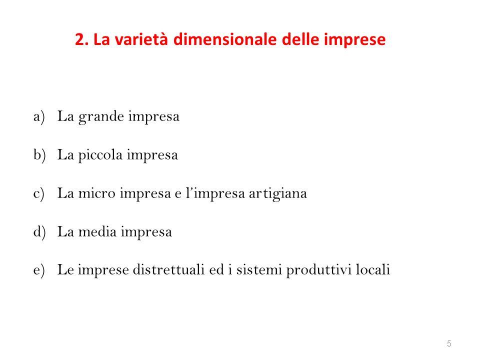 2. La varietà dimensionale delle imprese
