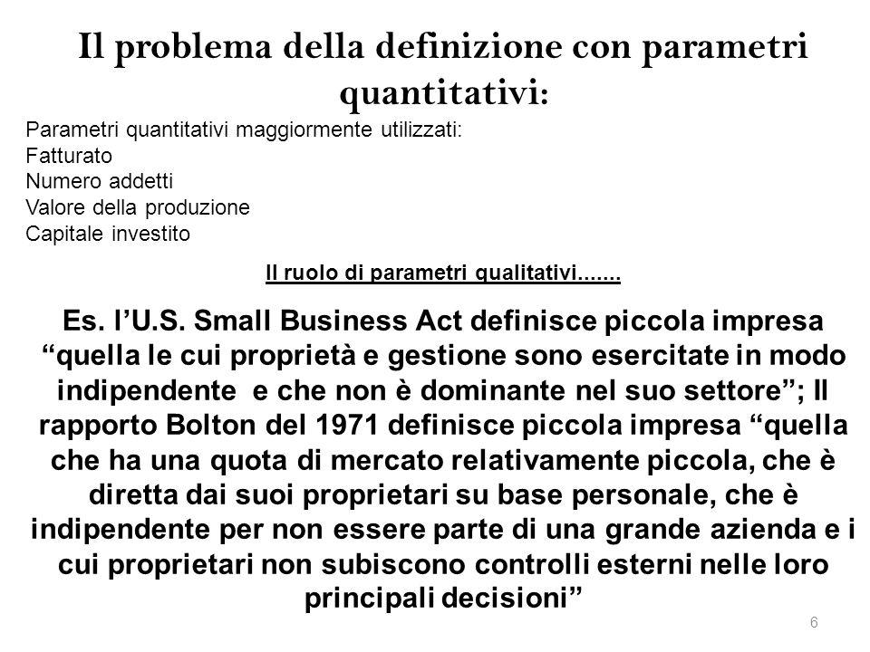 Il problema della definizione con parametri quantitativi: